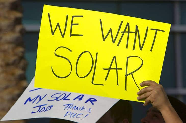 we want solar yellow sign